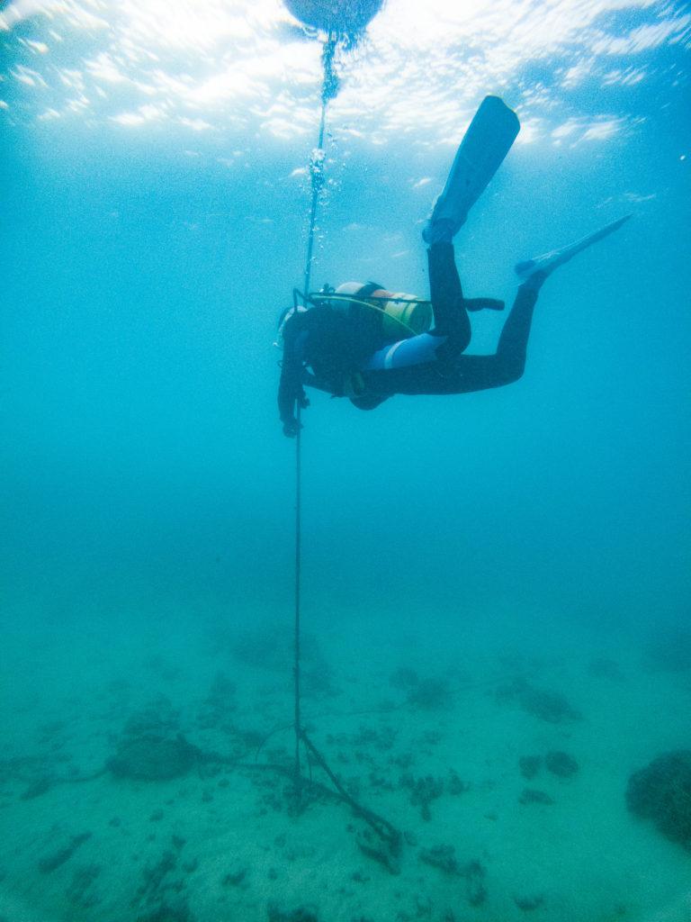 ロープを使って潜行の練習