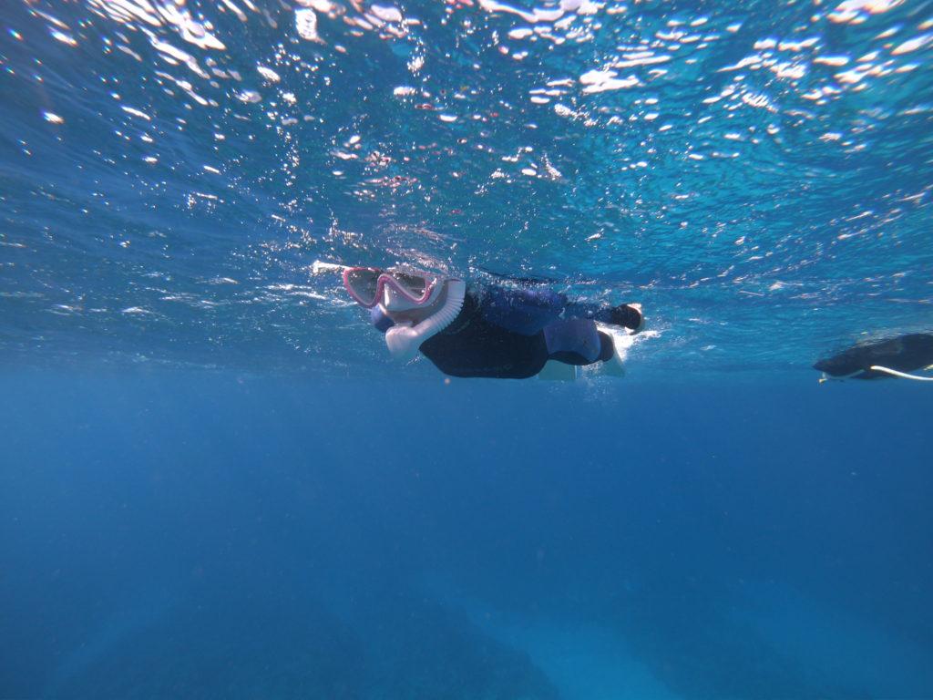 初めは水面で練習